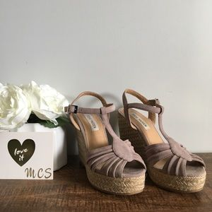 Steve Madden | mammbow taupe espadrille wedges 6.5